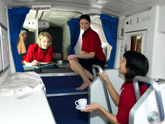 On wide-body aircraft such as Boeing's Dreamliner, there is a small room that is disguised as a small cabinet if viewed from outside.